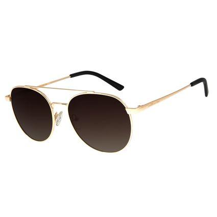 Óculos De Sol Feminino Chilli Beans Redondo Dourado Polarizado OC.MT.2726-5721