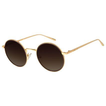 Óculos de Sol Feminino Chilli Beans Redondo Banhado A Ouro Dourado OC.MT.2779-5721