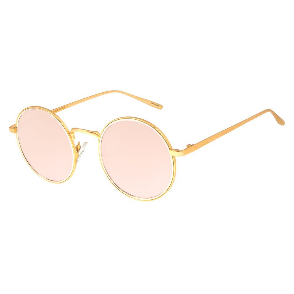 Óculos de Sol Feminino Chilli Beans Redondo Banhado A Ouro Rosê OC.MT.2779-9521