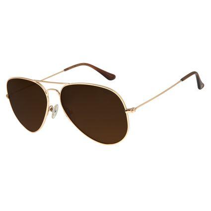 Óculos de Sol Unissex Chilli Beans Aviador Polarizado Dourado OC.MT.2516-8821