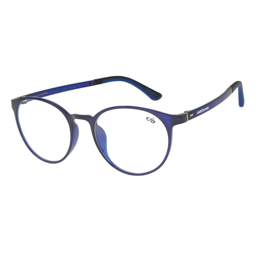 Armação Para Óculos De Grau Chilli Beans Masculino Redondo AzulLV.IJ.0120-0808