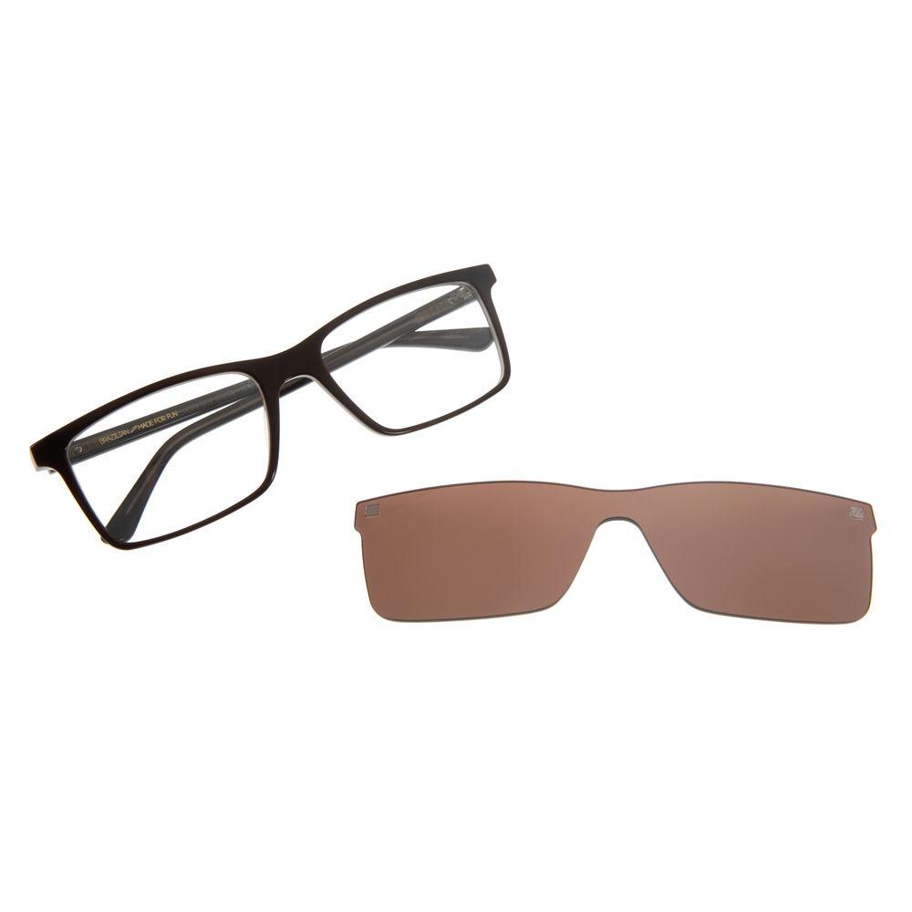 Armação Para Óculos De Grau Masculino Chilli Beans Multi Retangular Marrom LV.MU.0310-0202