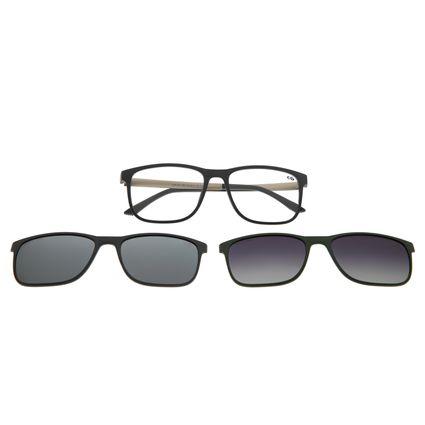 Armação Para Óculos De Grau Masculino Chilli Beans Multi Em Dobro Retangular Cinza Escuro LV.MU.0217-2807