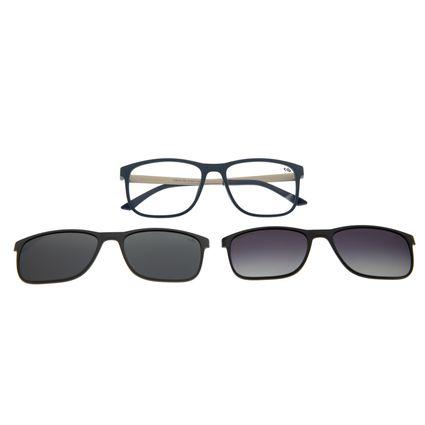 Armação Para Óculos De Grau Masculino Chilli Beans Multi Em Dobro Retangular Azul LV.MU.0217-0807