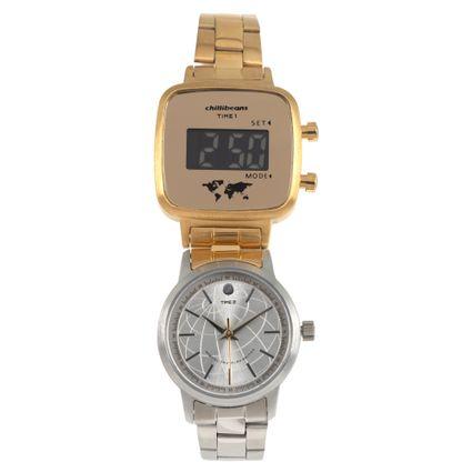 Relógio Double Dial Feminino Chilli Beans Traveler Dourado RE.MT.0954-0721