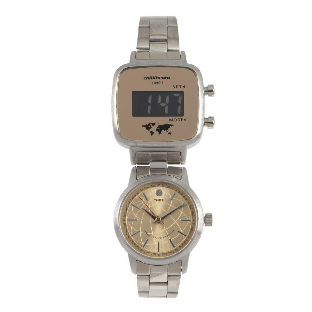 Relógio Double Dial Feminino Chilli Beans Traveler Prata RE.MT.0954-2107