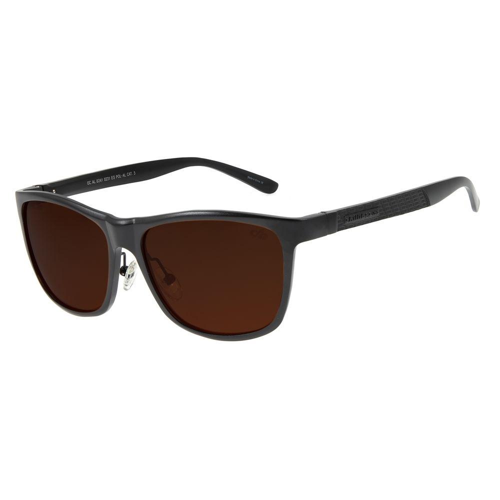 Óculos De Sol Masculino Chilli Beans Quadrado Marrom Polarizado OC.AL.0241-0231