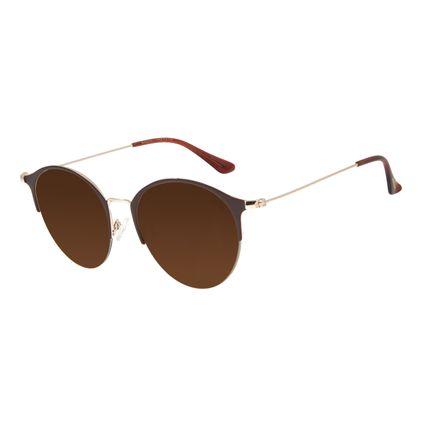 Óculos de Sol Feminino Chilli Beans Redondo Metal Marrom OC.MT.2824-0202