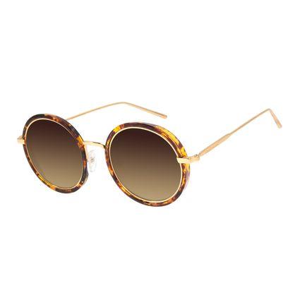 Óculos de Sol Feminino Chilli Beans Redondo Banhado A Ouro Dourado OC.MT.2831-5721