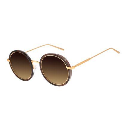 Óculos de Sol Feminino Chilli Beans Redondo Banhado A Ouro Fosco OC.MT.2831-5731