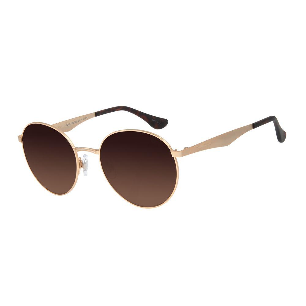 Óculos de Sol Unissex Chilli Beans Redondo Metal Dourado OC.MT.2790-5721