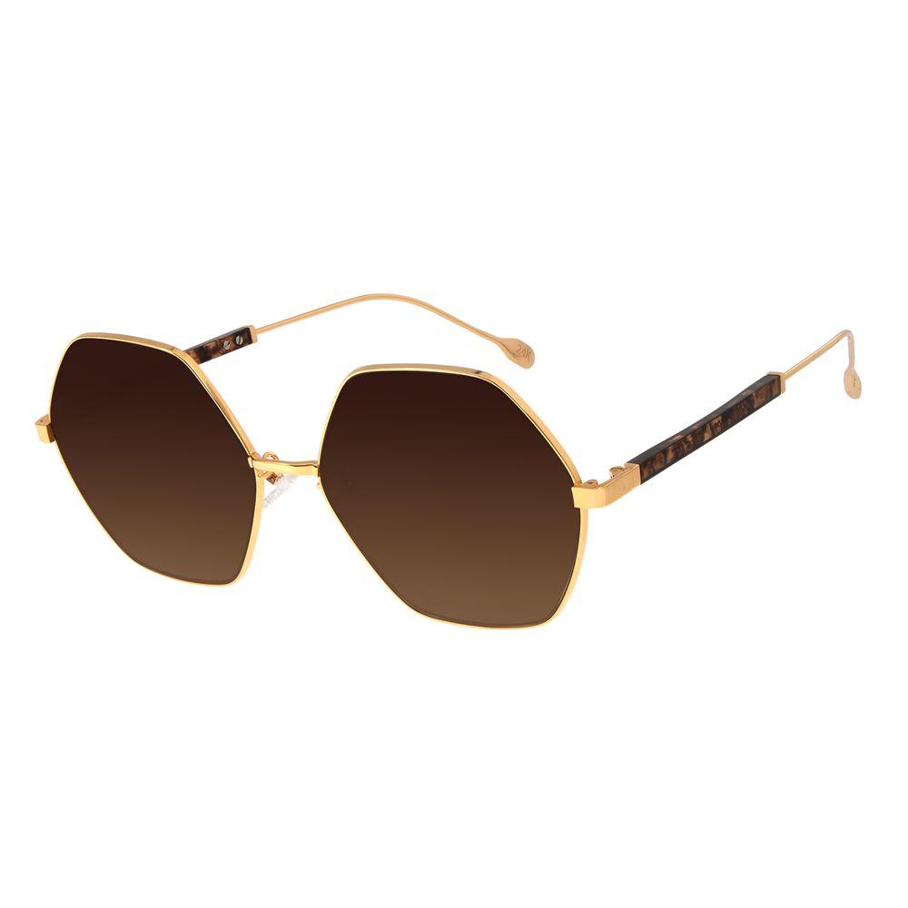 Óculos de Sol Feminino Água de Coco Banhado A Ouro Hexagonal Dourado OC.MT.2805-5721