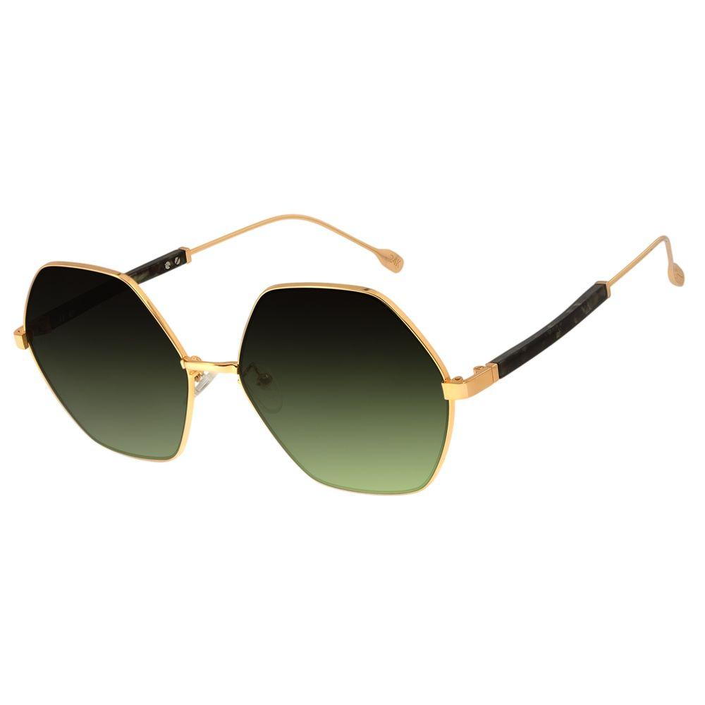 Óculos de Sol Feminino Água de Coco Banhado A Ouro Hexagonal Degradê Verde OC.MT.2805-8221