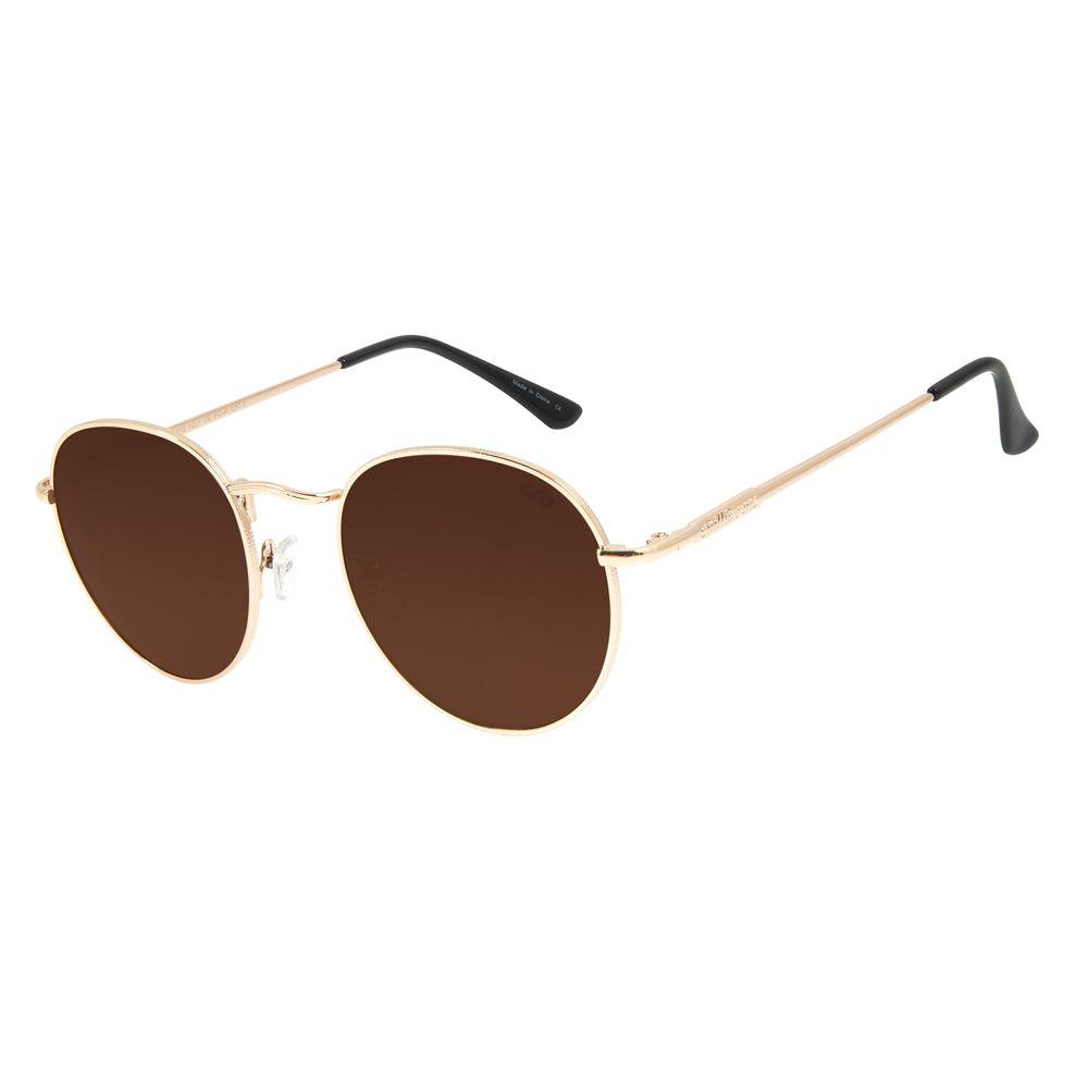 Óculos de Sol Unissex Chilli Beans Redondo Metal Dourado OC.MT.2812-0221