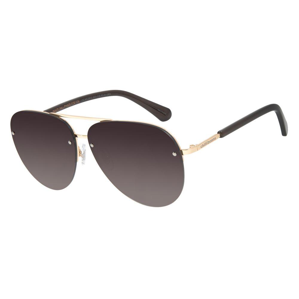 Óculos de Sol Unissex Chilli Beans Flat Aviador Dourado OC.MT.2813-2021
