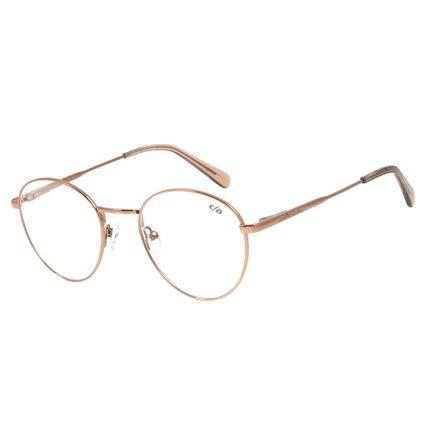 Armação Para Óculos De Grau Unissex Chilli Beans Redondo Metal Marrom Claro LV.MT.0328-8888