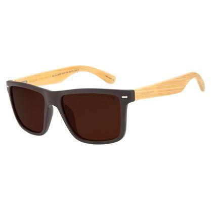 Óculos de Sol Masculino Chilli Beans Esportivo Bamboo Marrom Escuro Polarizado OC.CL.2620-0247