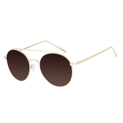 Óculos de Sol Unissex Chilli Beans Redondo Dourado Polarizado OC.MT.2811-5721