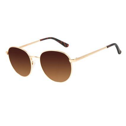 Óculos de Sol Unissex Chilli Beans Redondo Dourado Metal OC.MT.2825-5721