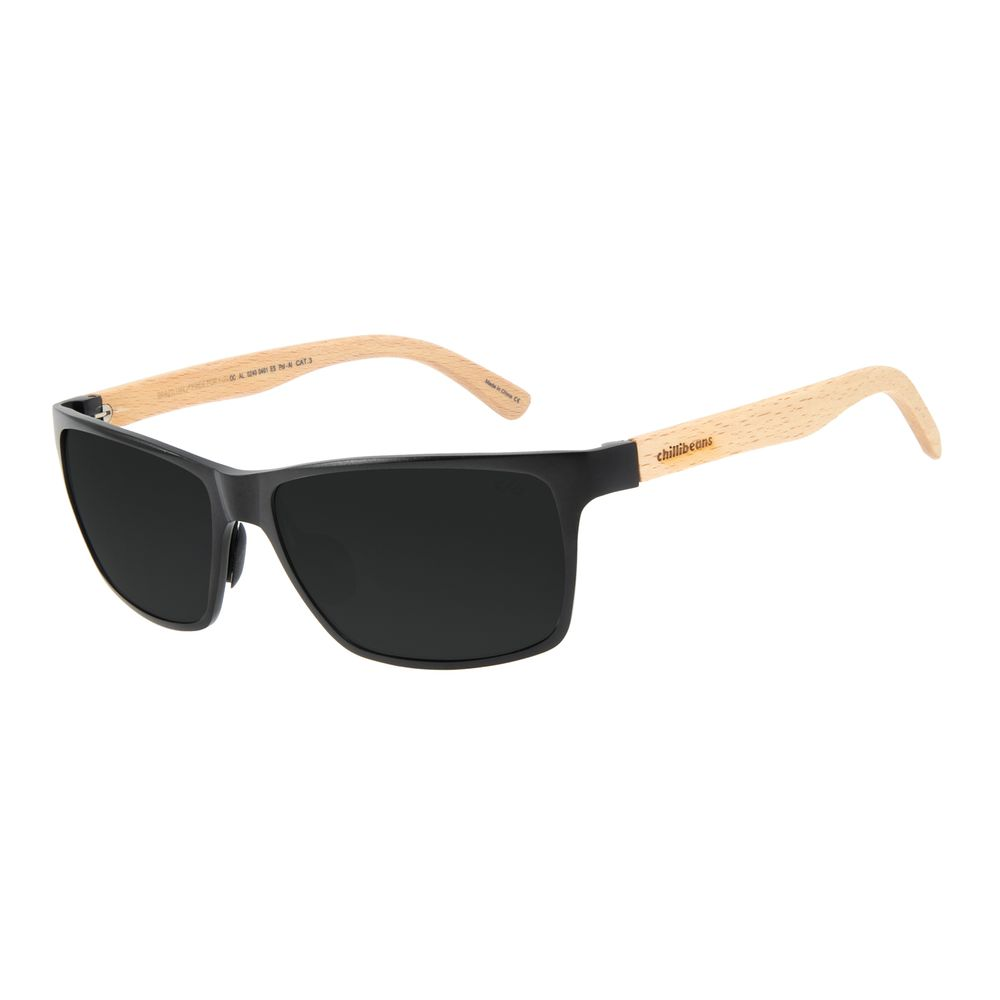 Óculos de Sol Masculino Chilli Beans Esportivo Alumínio Preto Polarizado OC.AL.0240-0401