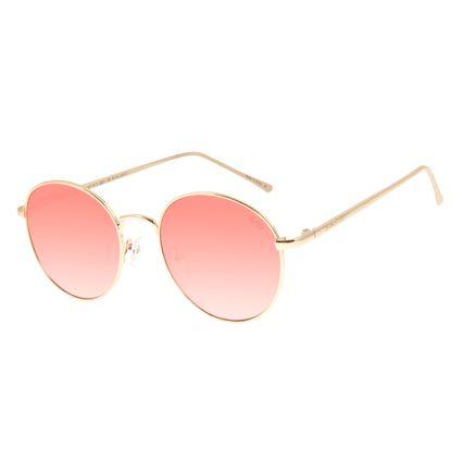 Óculos de Sol Feminino Redondo Lollapalooza Melomania Dourado OC.MT.2815-2021