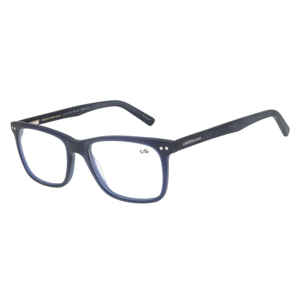 Armação para Óculos de Grau Masculino Chilli Beans Retangular Azul Escuro LV.AC.0536-9090