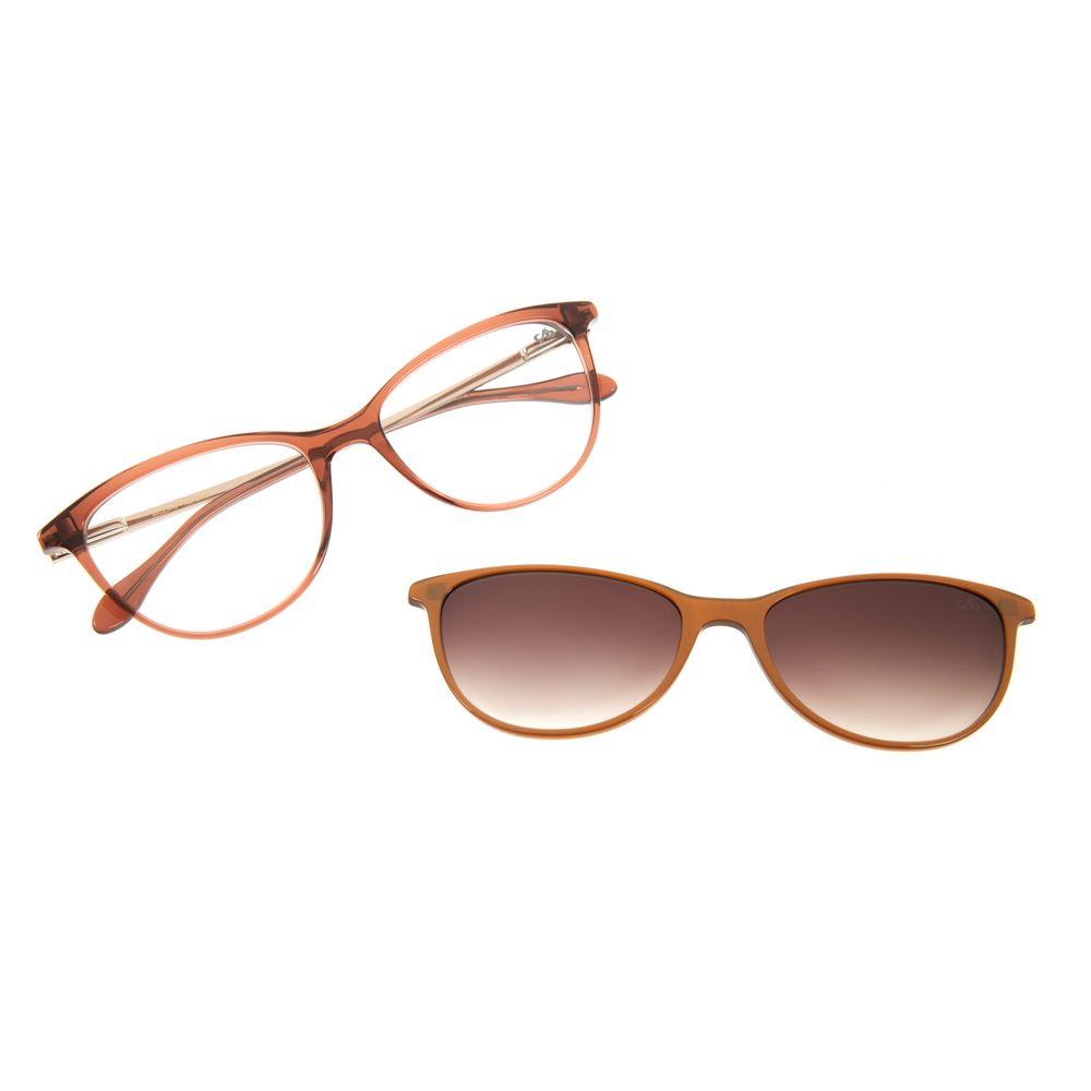 Armação Para Óculos De Grau Feminino Multi Gatinho Shine Marrom LV.MU.0208-2002