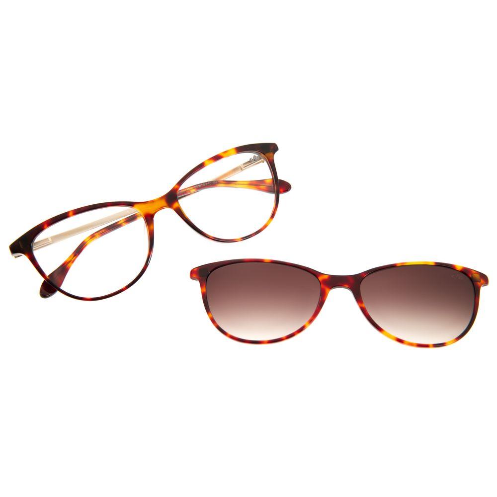 Armação Para Óculos De Grau Feminino Multi Gatinho Shine Tartaruga LV.MU.0208-2006