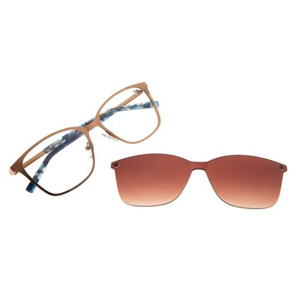 Armação Para Óculos De Grau Feminino Chilli Beans Quadrado Multi Marrom Claro LV.MU.0325-2088