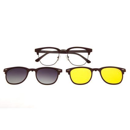 Armação Para Óculos De Grau Chilli Beans Multi Em Dobro Night Vision Cinza Escuro LV.MU.0341-2028