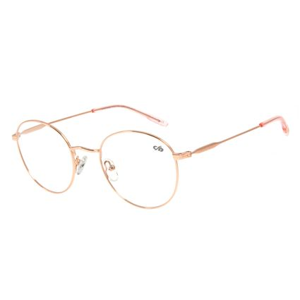 Armação Para Óculos de Grau Unissex Lollapalooza Fun Redondo Rosê LV.MT.0408-9595