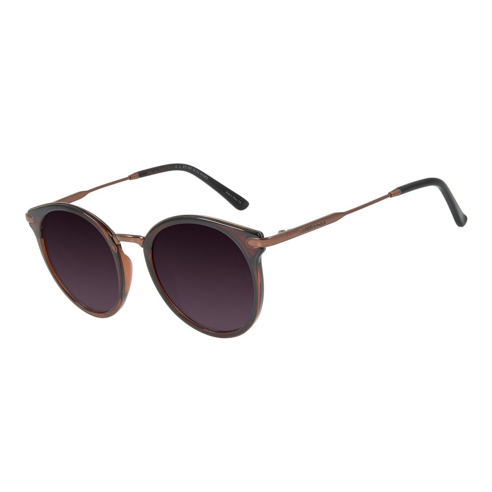 Óculos de Sol Feminino Chilli Beans Redondo Marrom Escuro Polarizado OC.CL.3010-5747