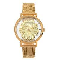 Relógio Analógico Feminino Chilli Beans Redondo Metal Dourado Floral RE.MT.0969-2121