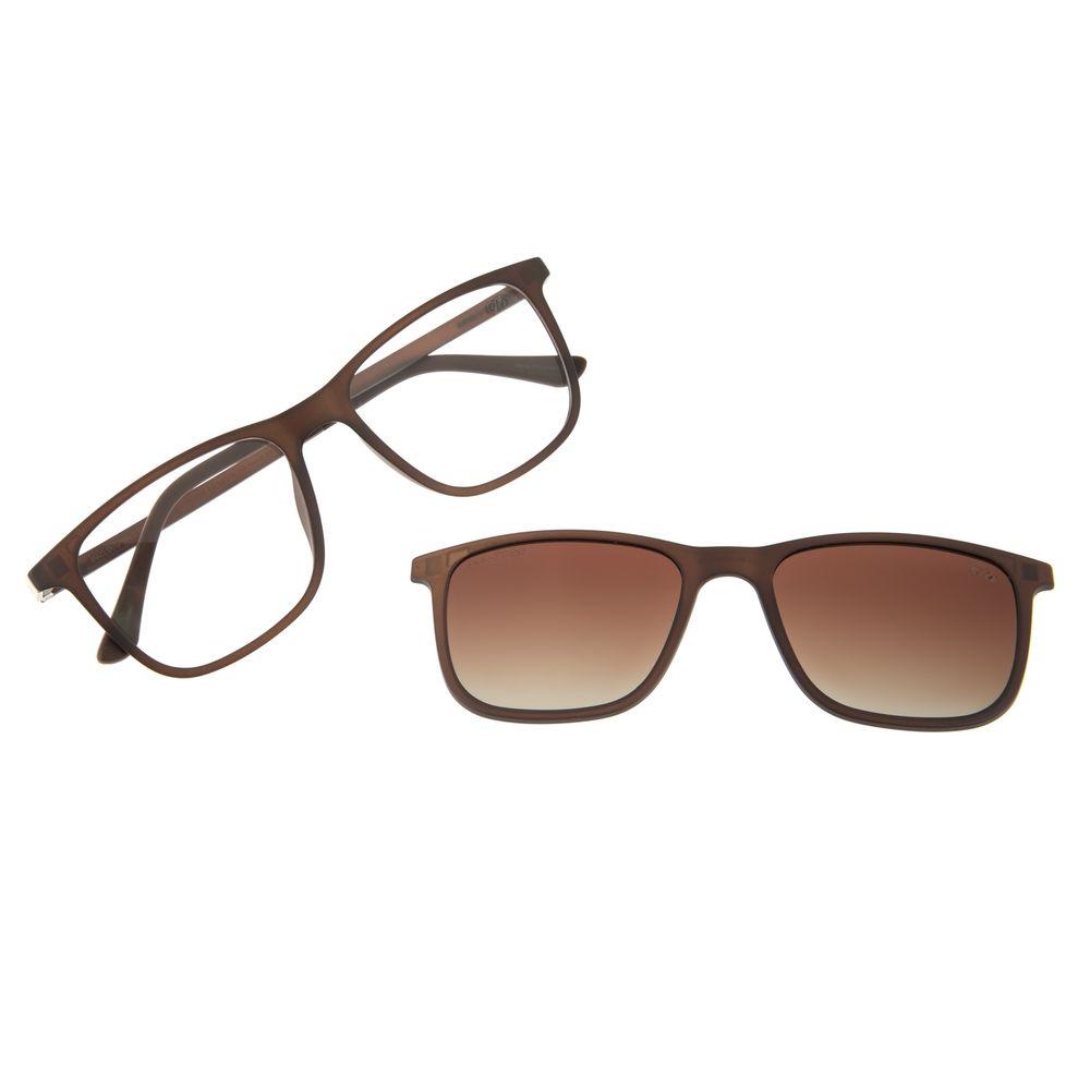 Armação para Óculos de Grau Masculino Chilli Beans Multi Retangular Polarizado Marrom LV.MU.0358-5702