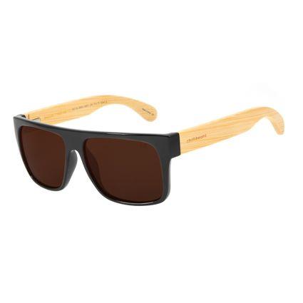 Óculos de Sol Masculino Chilli Beans Esportivo Bamboo Marrom Polarizado OC.CL.3003-0201