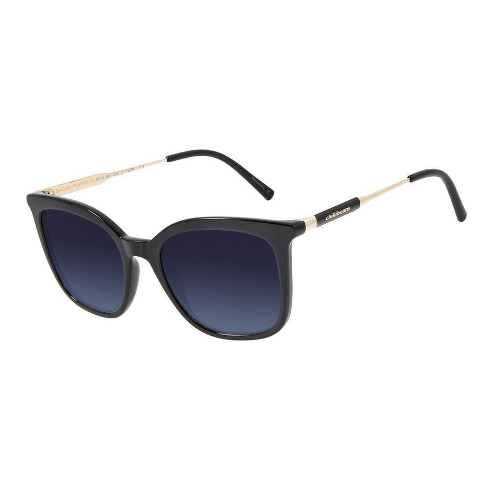 Óculos de Sol Feminino Chilli Beans Quadrado Clássico Preto    OC.CL.3011-2001