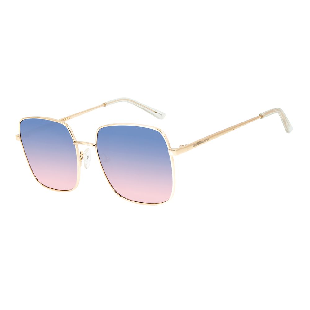 Óculos de Sol Feminino Chilli Beans Quadrado Metal Dourado OC.MT.2841-8021