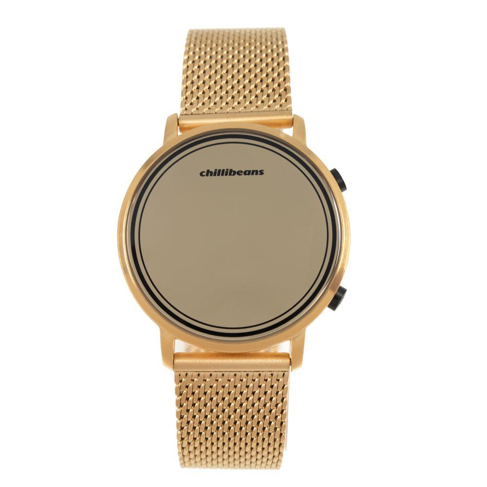 Relógio Digital Masculino Chilli Beans Espelhado Dourado RE.MT.1012-2121