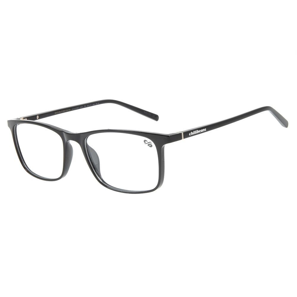 Armação Para Óculos De Grau Masculino Chilli Beans Retangular Preto LV.IJ.0107-0101