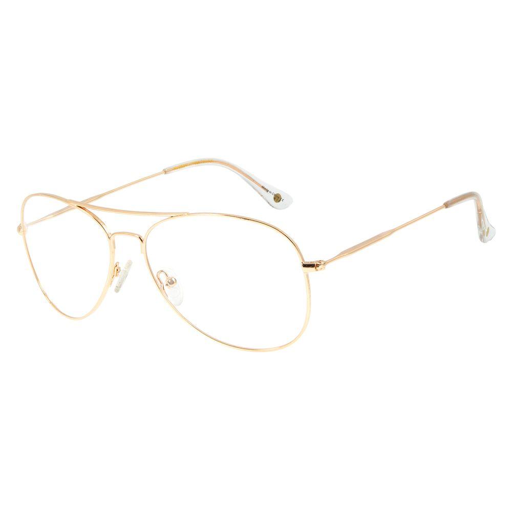 Armação Para Óculos de Grau Feminino Chilli Beans Aviador Dourado LV.MT.0404-2121