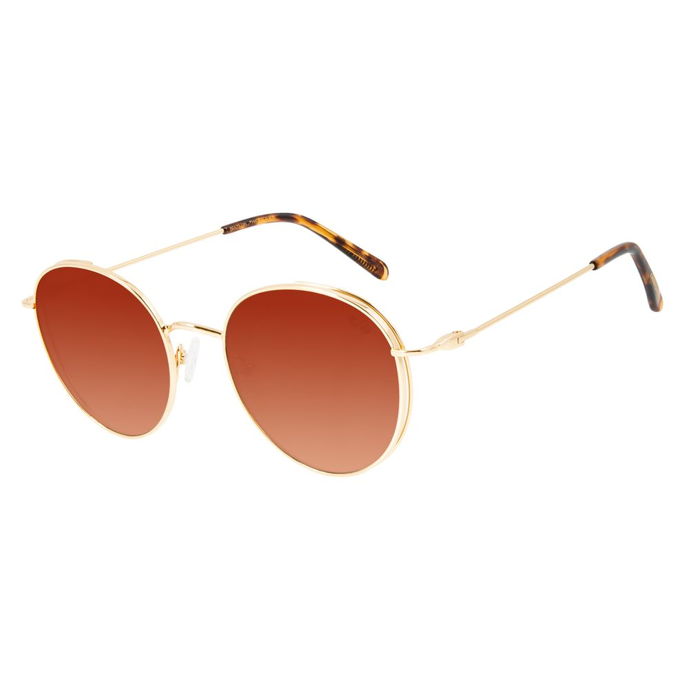 Óculos de Sol Feminino Chilli Beans Redondo Banhado A Ouro Dourado Flap OC.MT.2827-2021