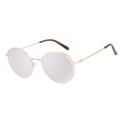 Óculos de Sol Feminino Chilli Beans Redondo Banhado A Ouro Rosê Flap OC.MT.2827-3295