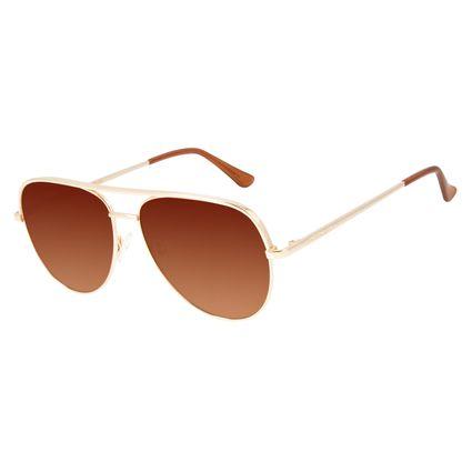 Óculos de Sol Unissex Chilli Beans Aviador Dourado OC.MT.2836-1121
