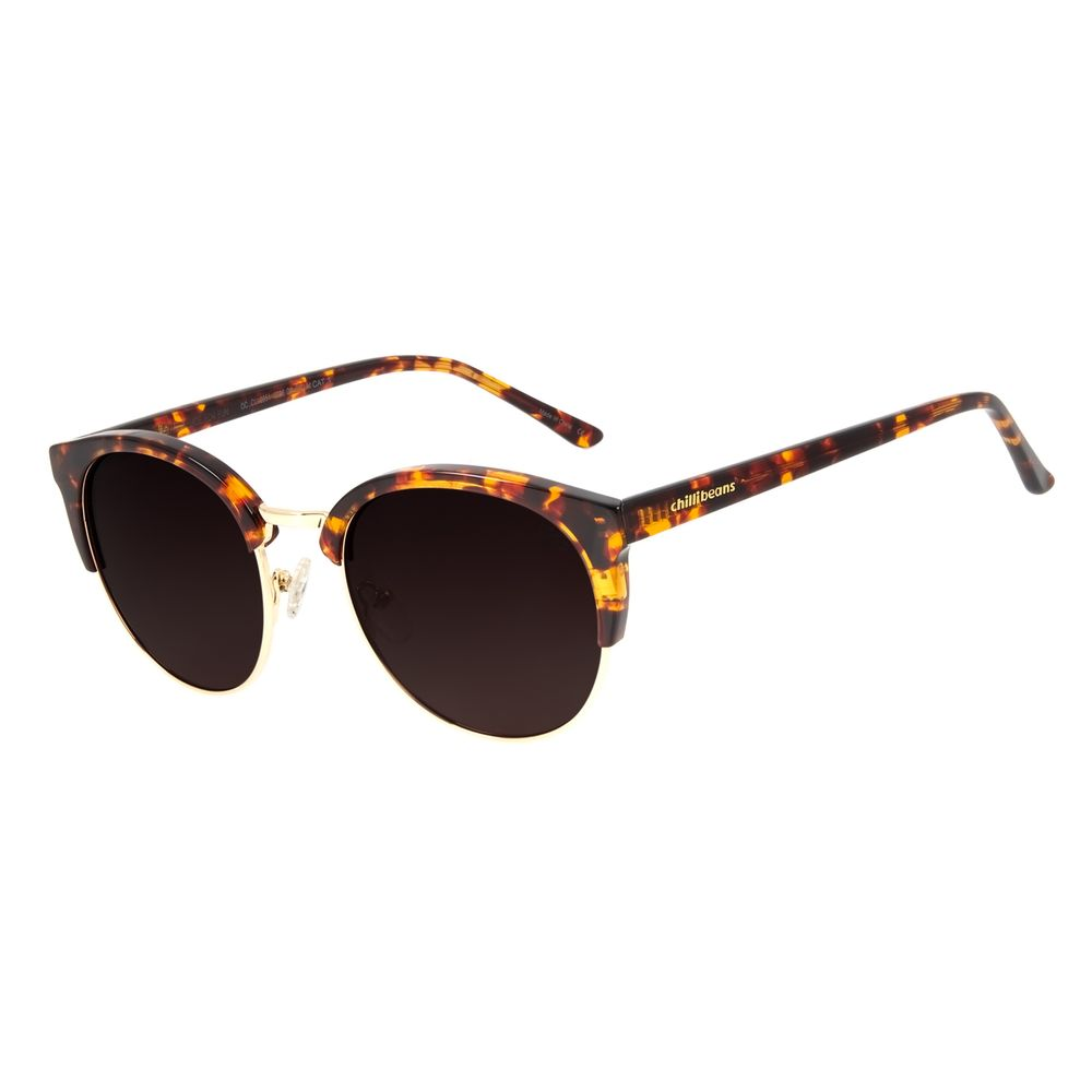 Óculos de Sol Feminino Chilli Beans Redondo Authentic Tartaruga Polarizado OC.CL.2951-5706