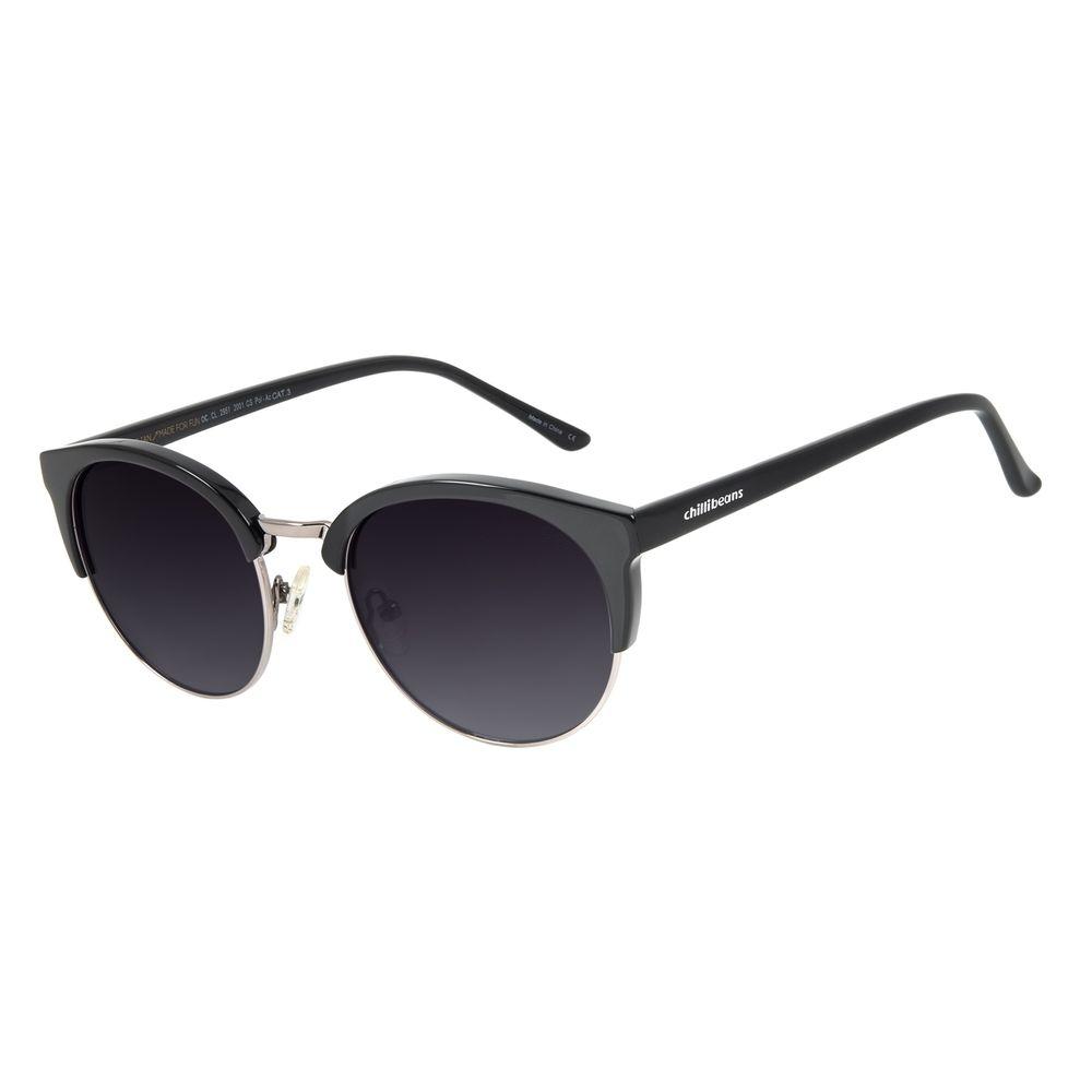 Óculos de Sol Feminino Chilli Beans Redodno Authentic Preto Polarizado OC.CL.2951-2001