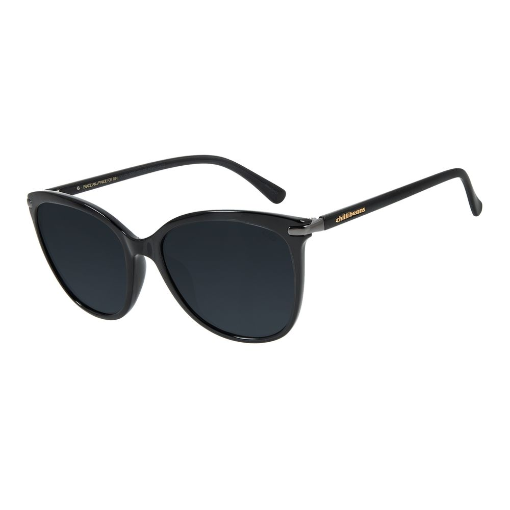 Óculos de Sol Feminino Chilli Beans Redondo Cristal Preto OC.CL.3002-0501
