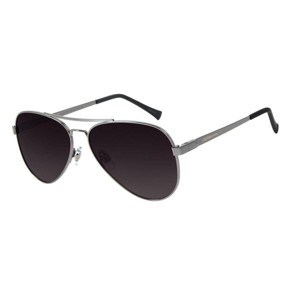 Óculos de Sol Unissex Chilli Beans Aviador Classic Polarizado Ônix OC.MT.2856-2022