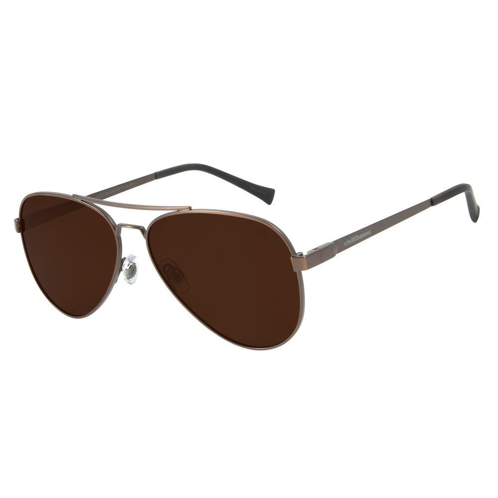 Óculos de Sol Unissex Chilli Beans Aviador Classic Polarizado Marrom OC.MT.2856-0202
