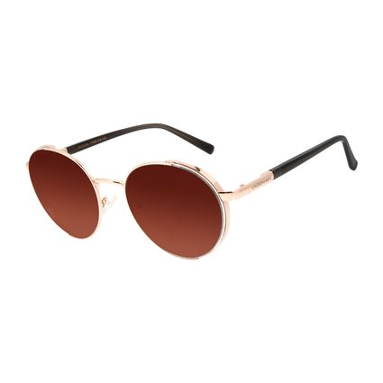 Óculos de Sol Feminino Chilli Beans Banhado A Ouro Redondo Flap Rosé OC.MT.2857-2095