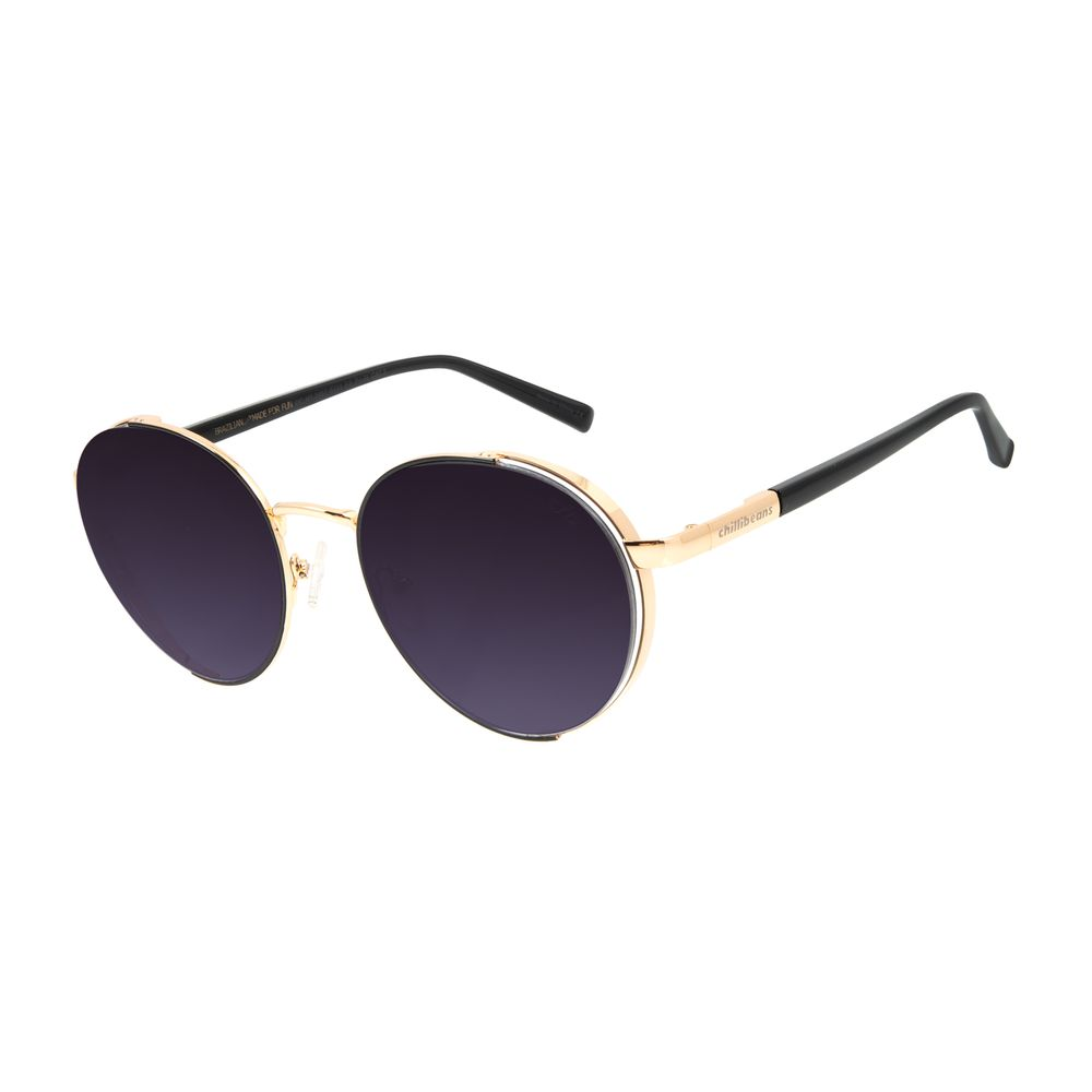 Óculos de Sol Feminino Chilli Beans Banhado A Ouro Redondo Flap Dourado OC.MT.2857-5721